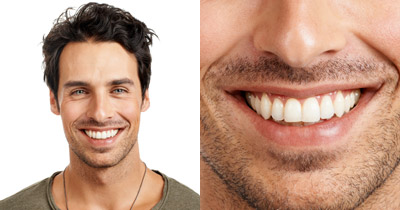 two photos side by side of a man smiling