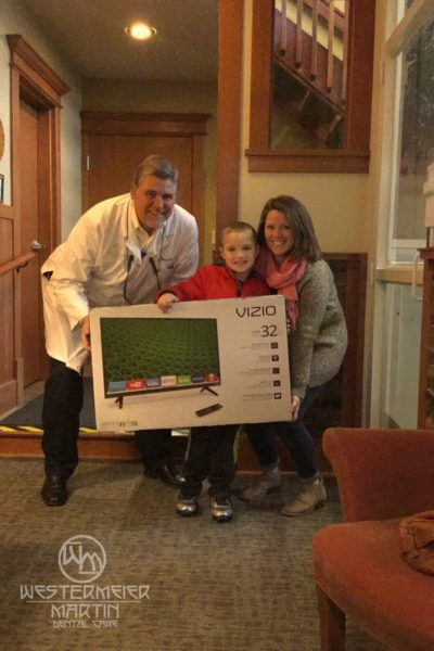 Family winning a tv