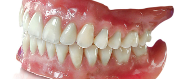 Side view of dentures