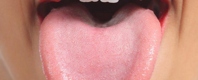 Up close of a womans tongue