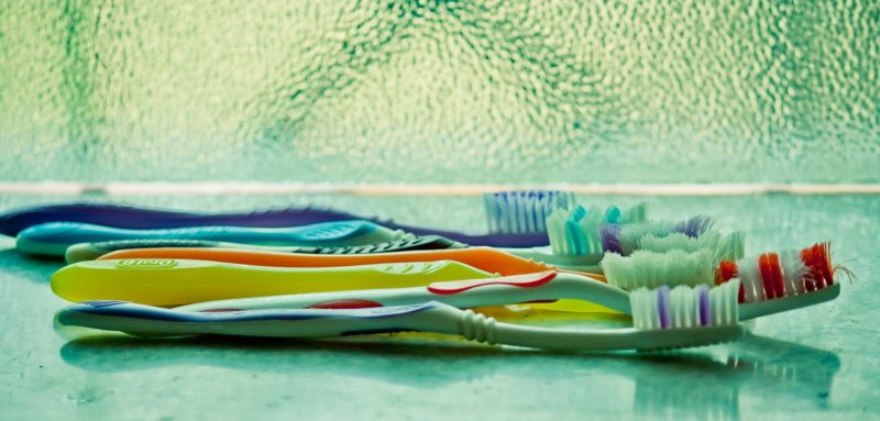 Toothbrushes on a counter