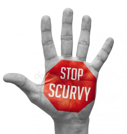 An open hand with a stop sign painted on it that says Stop Scurvy